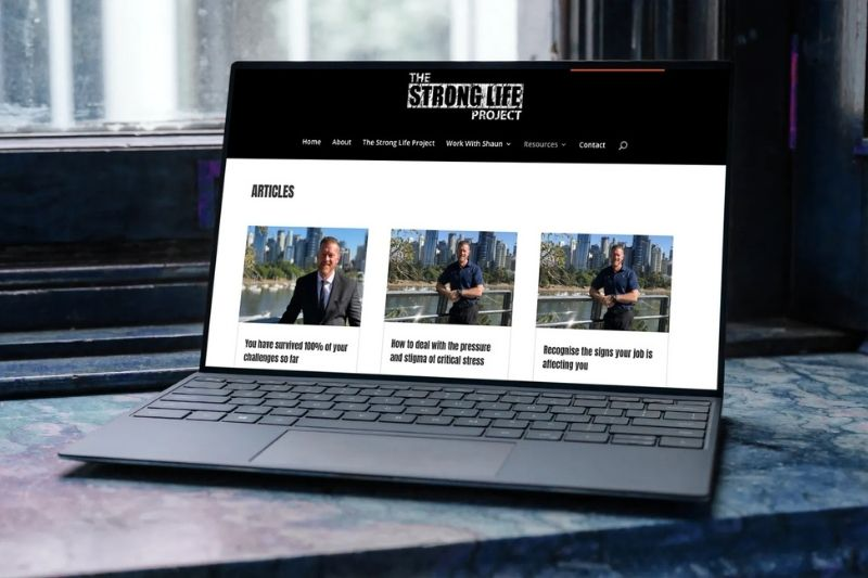 Shaun's articles on a laptop